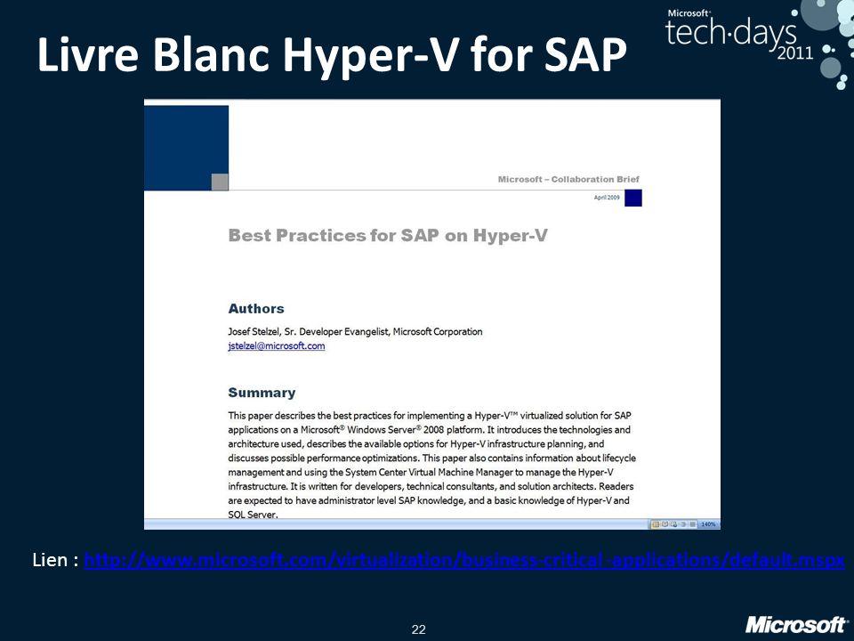 Livre Blanc Hyper-V for SAP