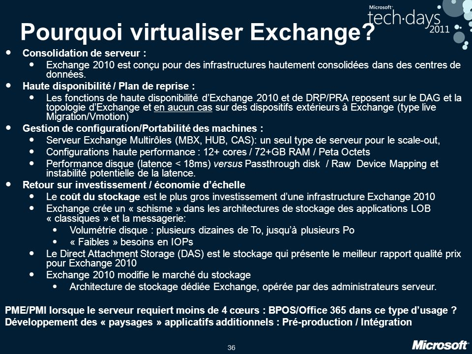 Pourquoi virtualiser Exchange