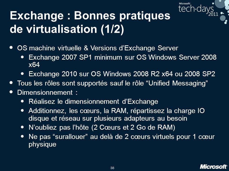 Exchange : Bonnes pratiques de virtualisation (1/2)