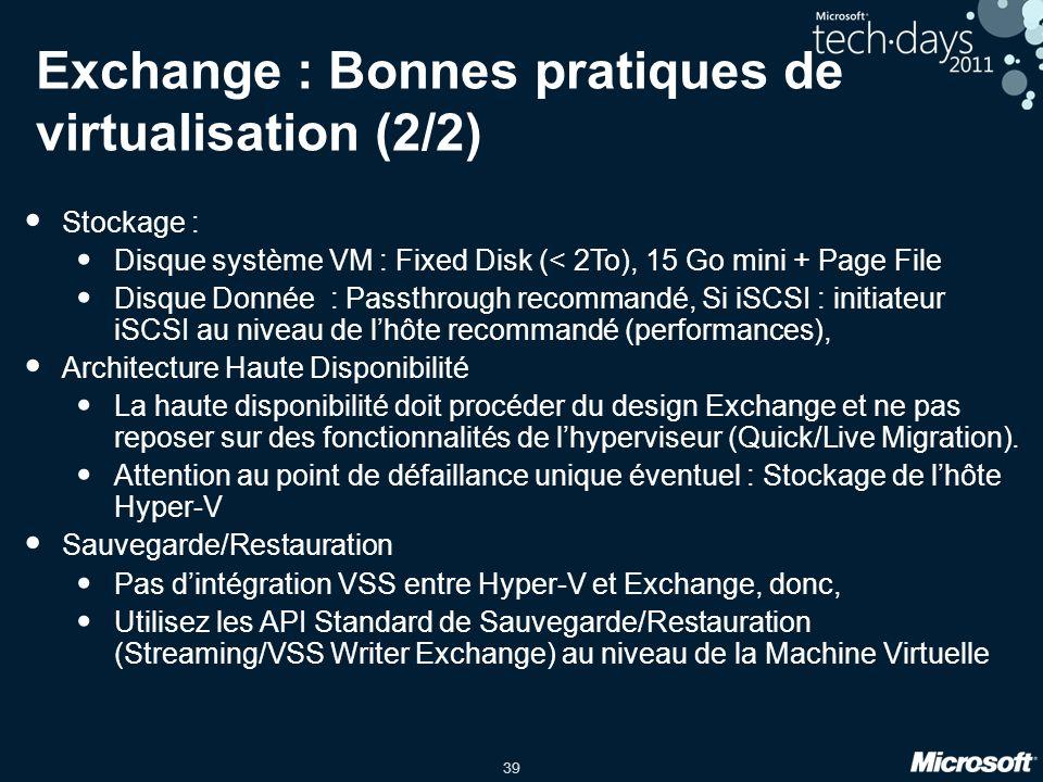 Exchange : Bonnes pratiques de virtualisation (2/2)
