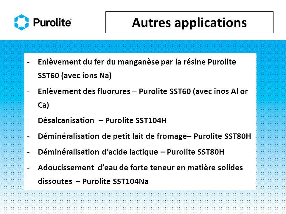 Autres applications Enlèvement du fer du manganèse par la résine Purolite SST60 (avec ions Na)
