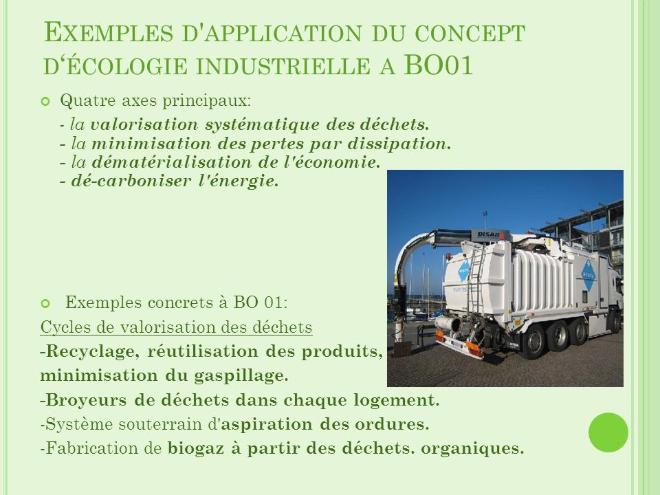 Exemples d application du concept d'écologie industrielle a BO01