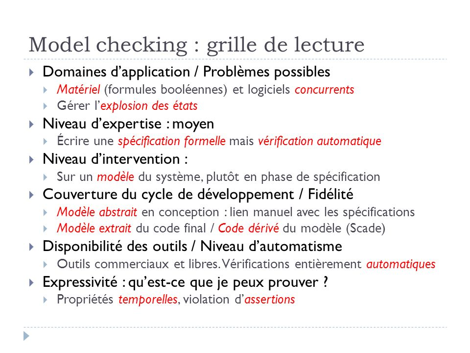Model checking : grille de lecture