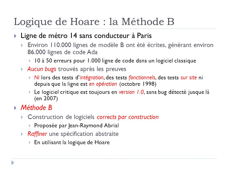Logique de Hoare : la Méthode B