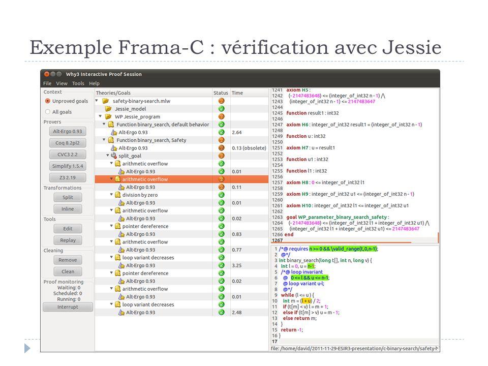 Exemple Frama-C : vérification avec Jessie