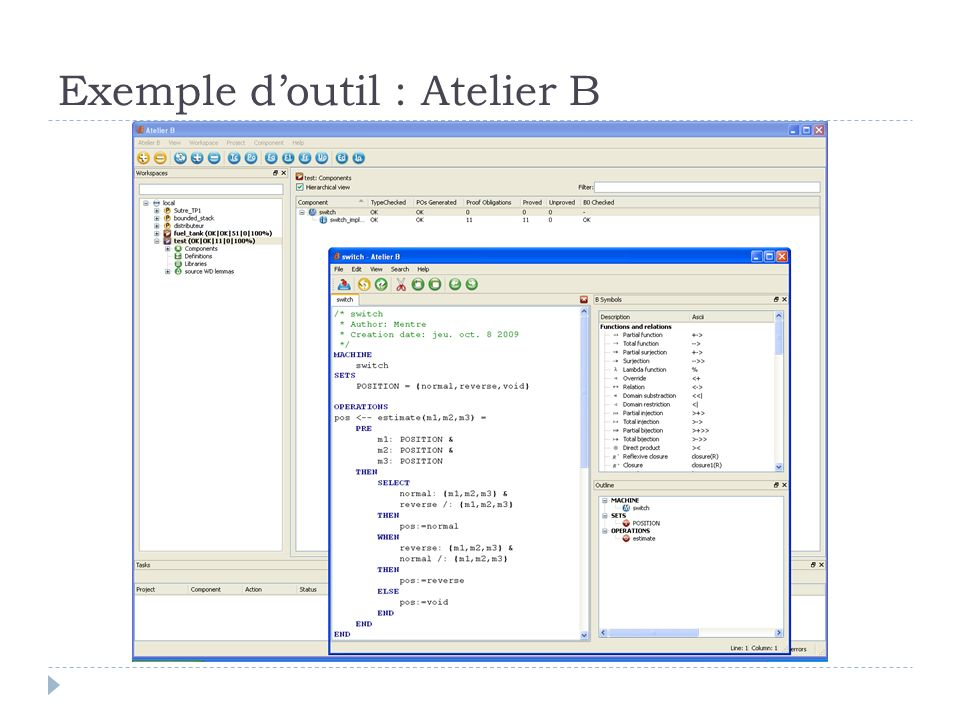 Exemple d'outil : Atelier B