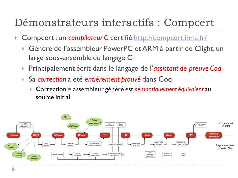 Démonstrateurs interactifs : Compcert