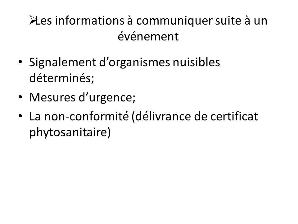 Les informations à communiquer suite à un événement
