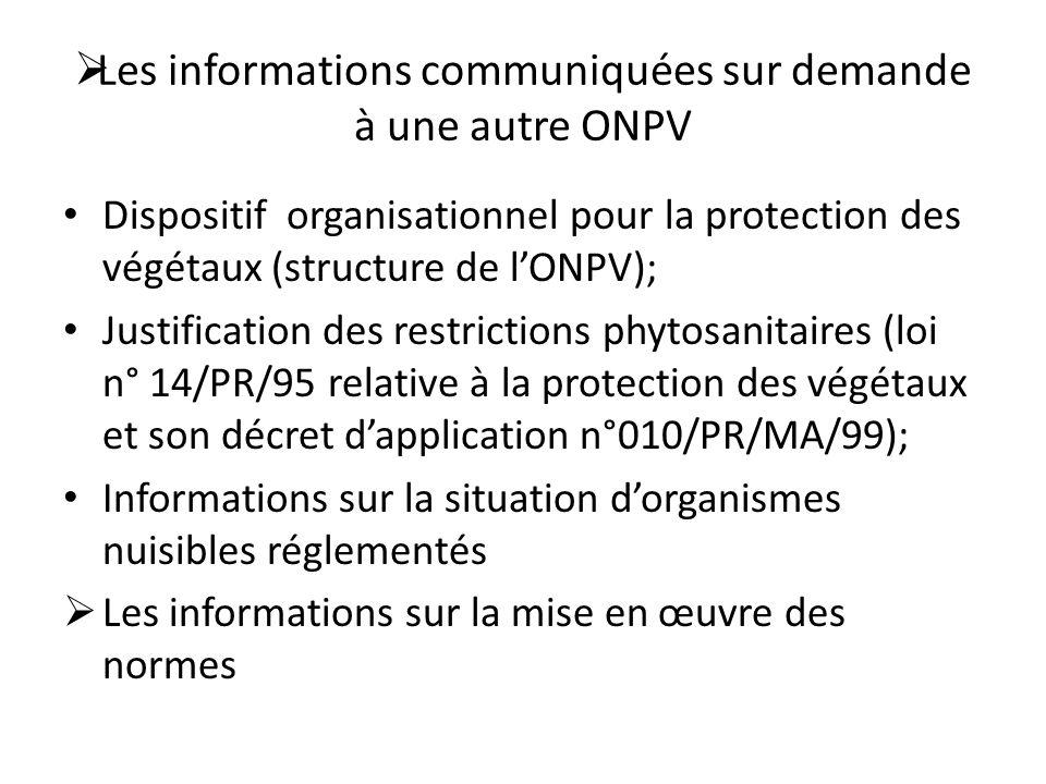 Les informations communiquées sur demande à une autre ONPV
