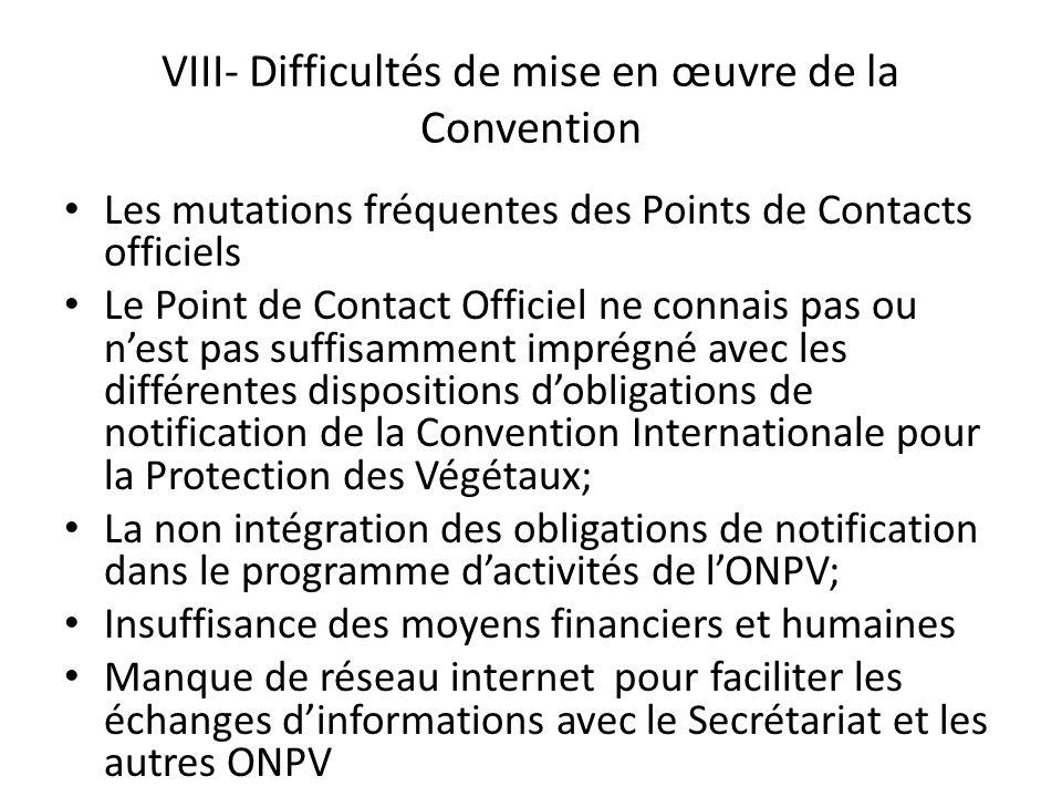 VIII- Difficultés de mise en œuvre de la Convention