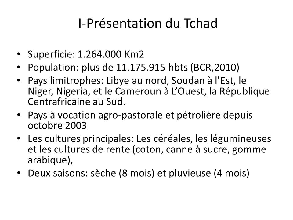 I-Présentation du Tchad