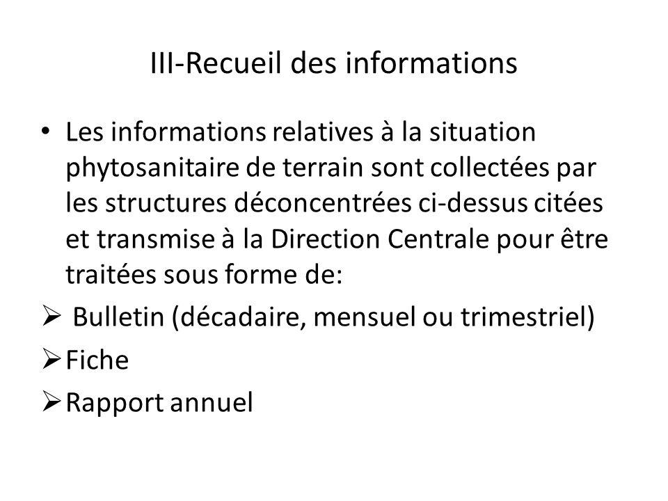 III-Recueil des informations