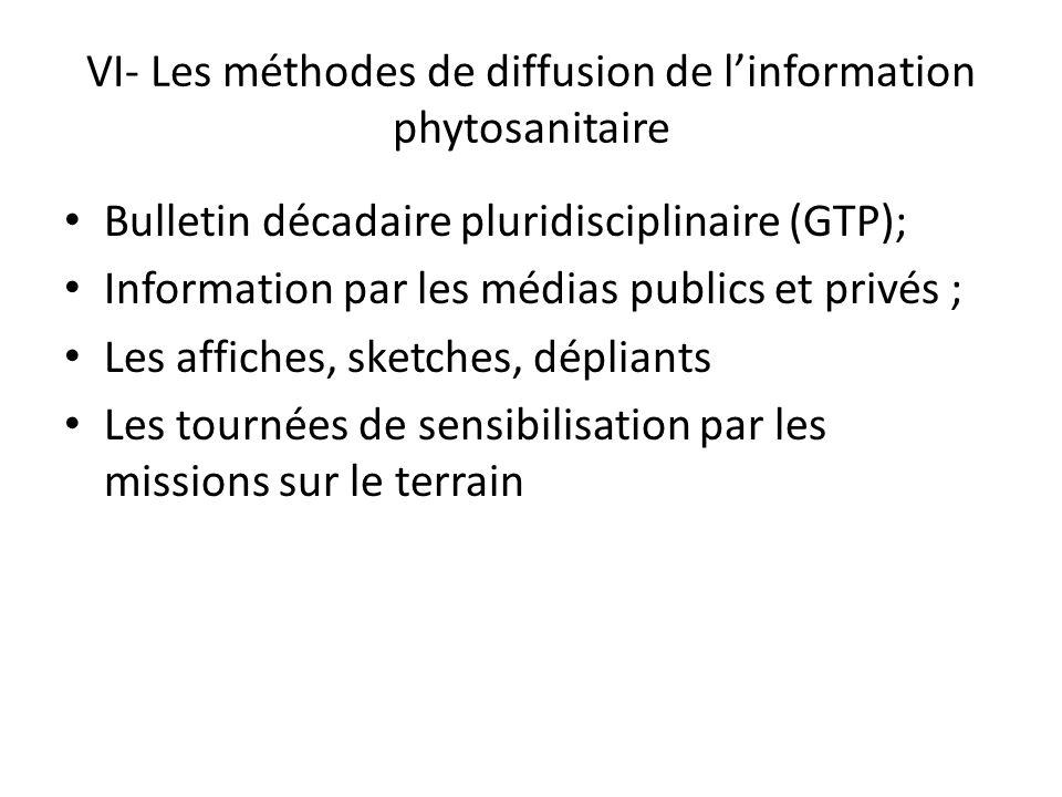 VI- Les méthodes de diffusion de l'information phytosanitaire