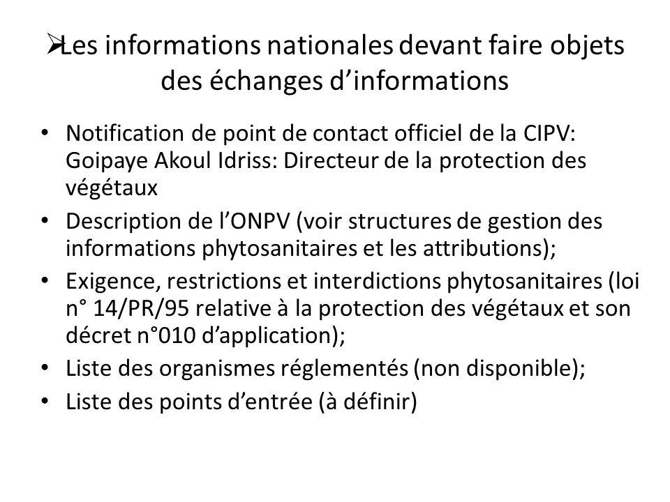 Les informations nationales devant faire objets des échanges d'informations
