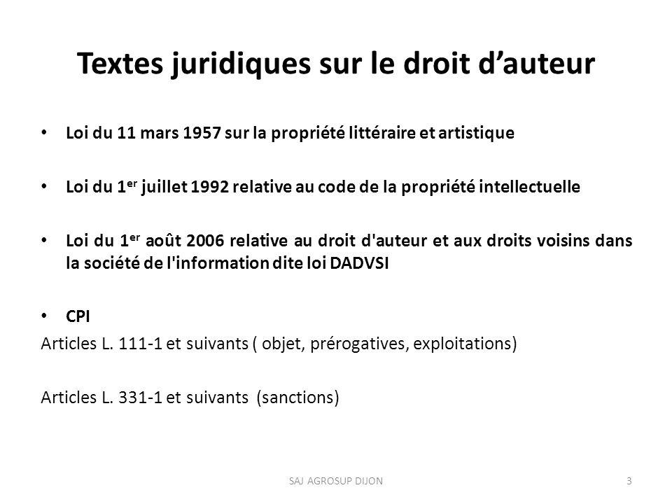 Textes juridiques sur le droit d'auteur