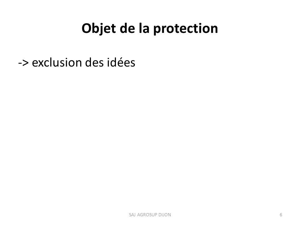 Objet de la protection -> exclusion des idées SAJ AGROSUP DIJON