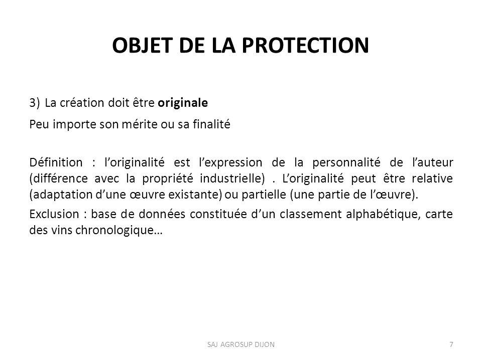 OBJET DE LA PROTECTION