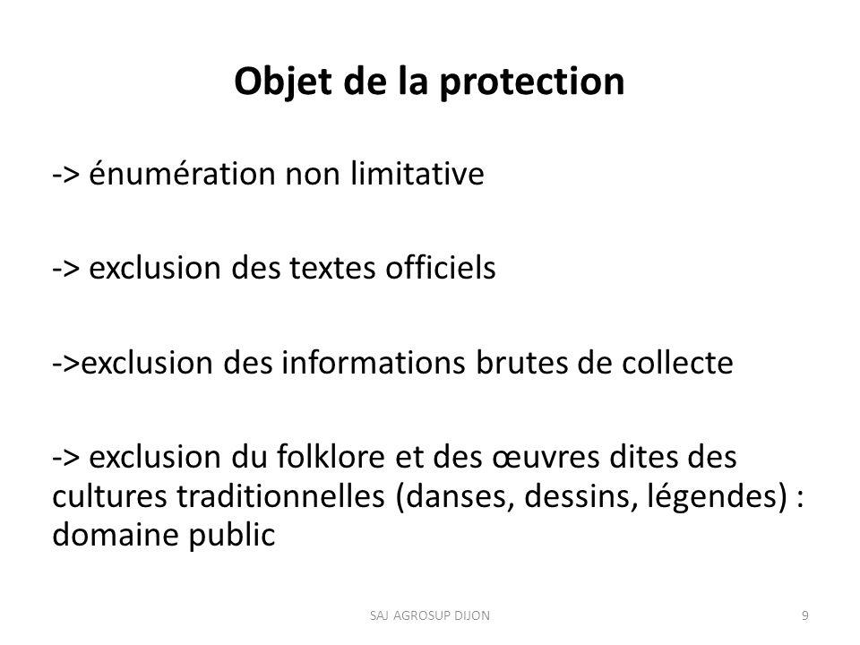 Objet de la protection -> énumération non limitative