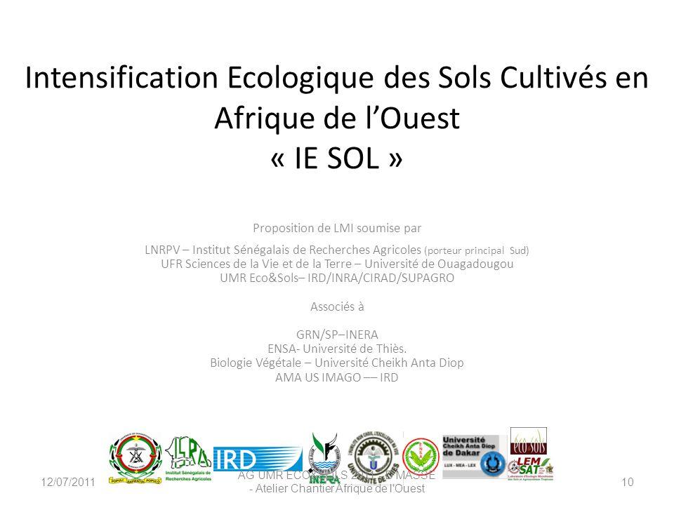 Intensification Ecologique des Sols Cultivés en Afrique de l'Ouest « IE SOL »