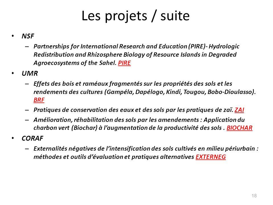 Les projets / suite NSF UMR CORAF