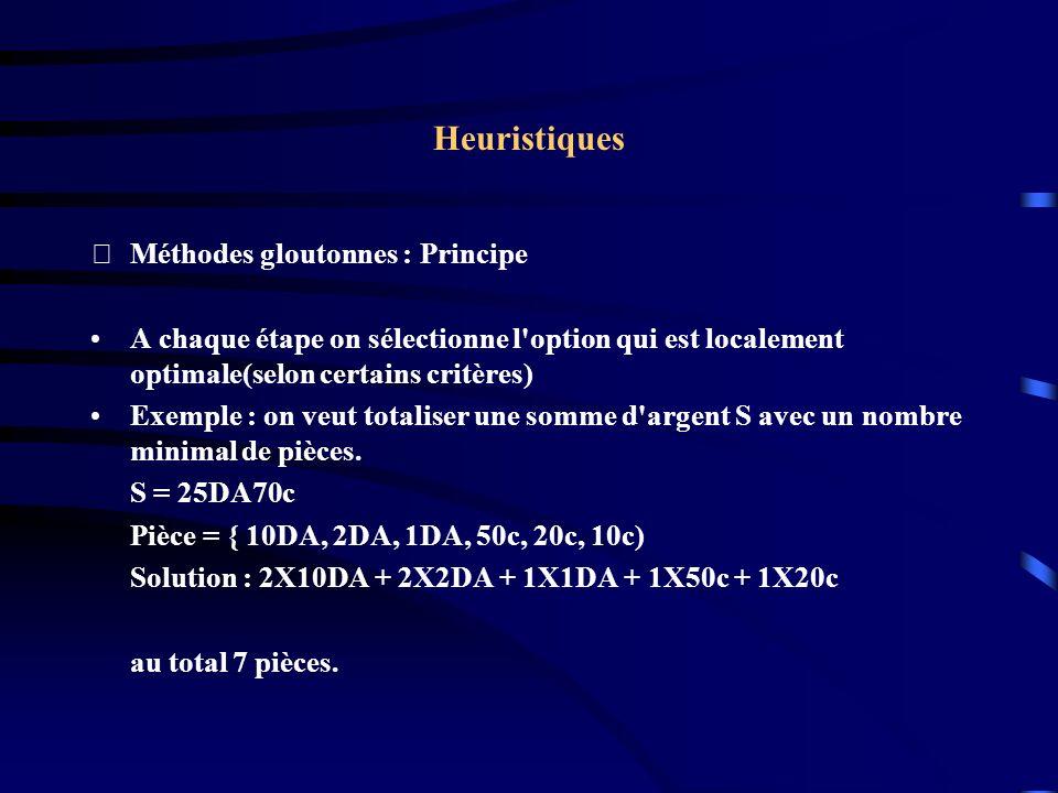 Heuristiques Méthodes gloutonnes : Principe