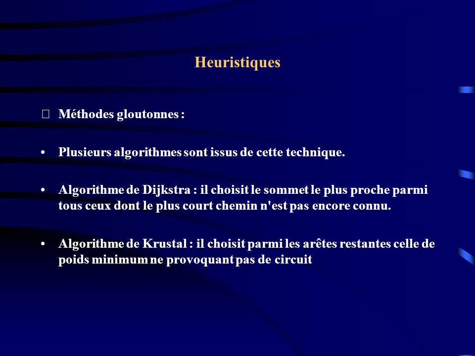Heuristiques Méthodes gloutonnes :