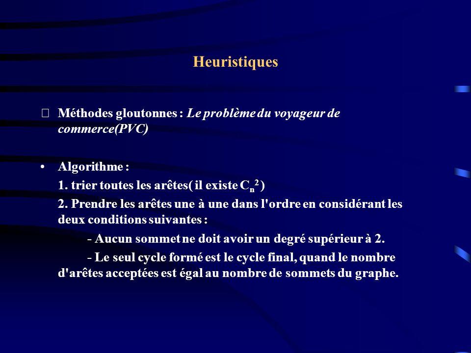 Heuristiques Méthodes gloutonnes : Le problème du voyageur de commerce(PVC) Algorithme : 1. trier toutes les arêtes( il existe Cn2 )