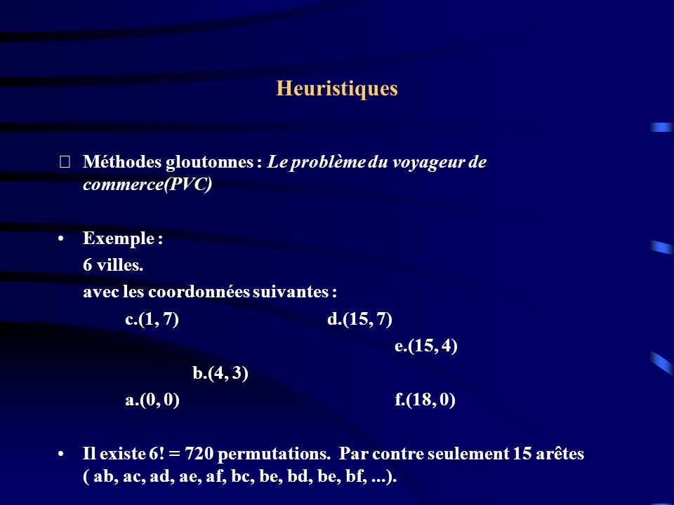 Heuristiques Méthodes gloutonnes : Le problème du voyageur de commerce(PVC) Exemple : 6 villes. avec les coordonnées suivantes :