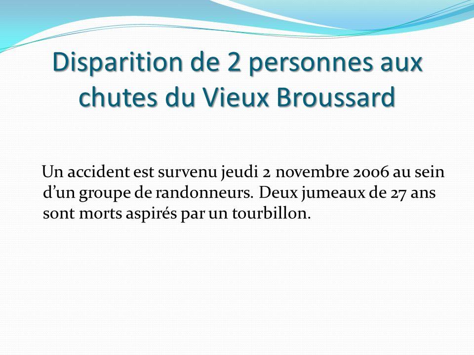 Disparition de 2 personnes aux chutes du Vieux Broussard