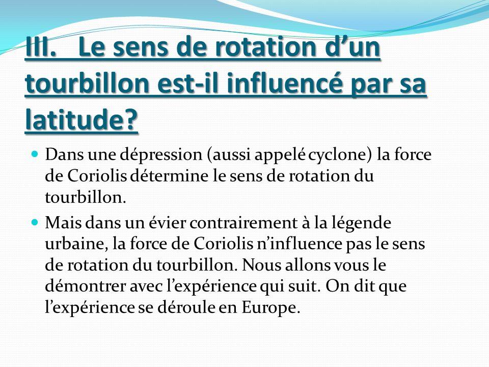 III. Le sens de rotation d'un tourbillon est-il influencé par sa latitude