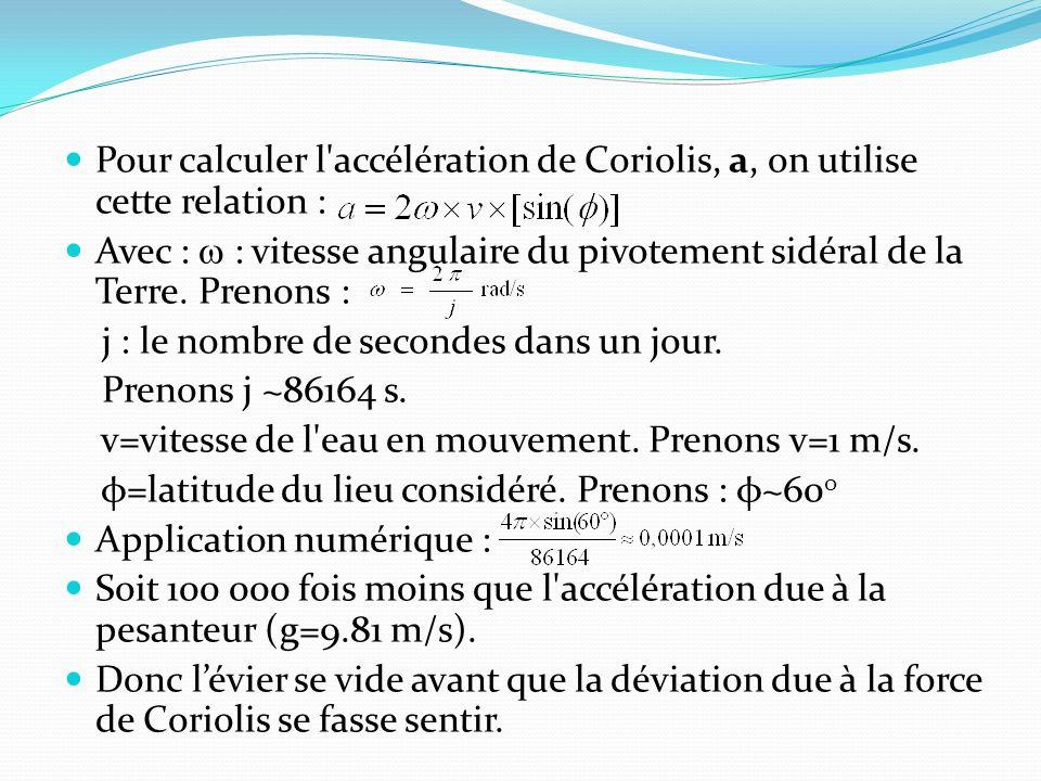 Pour calculer l accélération de Coriolis, a, on utilise cette relation :