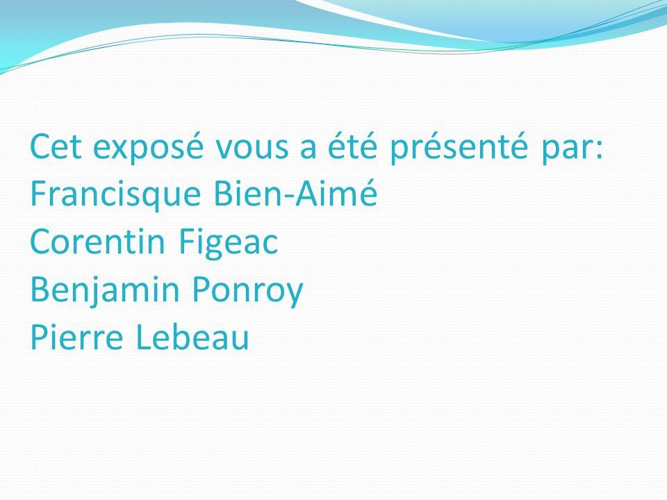 Cet exposé vous a été présenté par: Francisque Bien-Aimé Corentin Figeac Benjamin Ponroy Pierre Lebeau