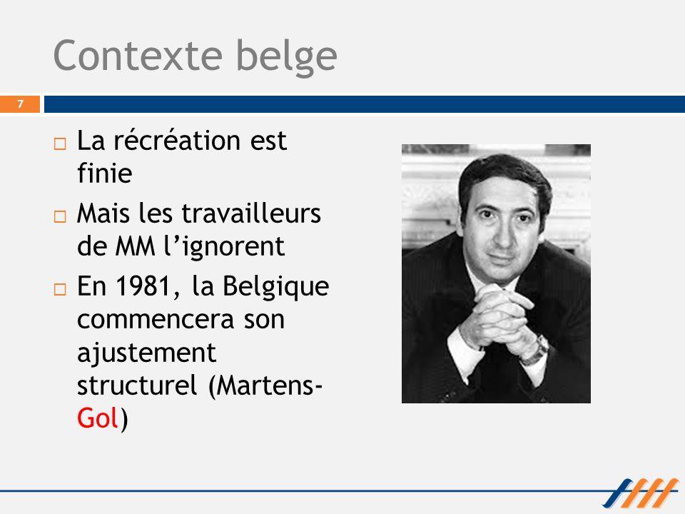 Contexte belge La récréation est finie