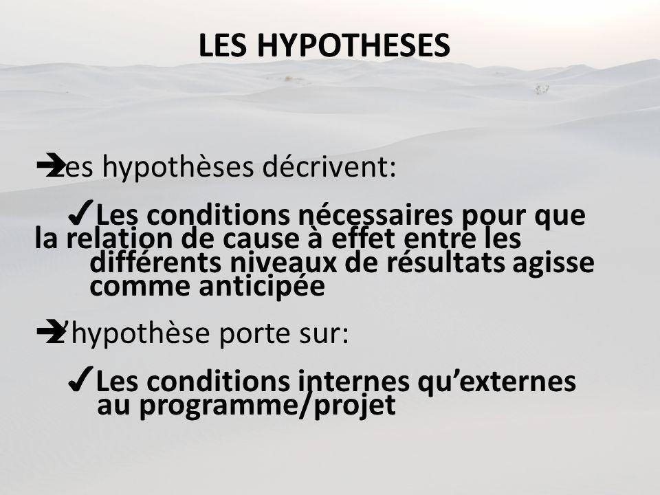 LES HYPOTHESES Les hypothèses décrivent: