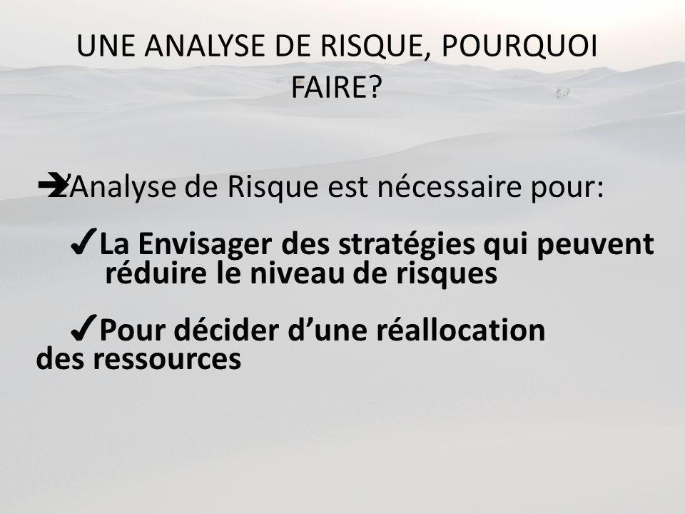 UNE ANALYSE DE RISQUE, POURQUOI FAIRE