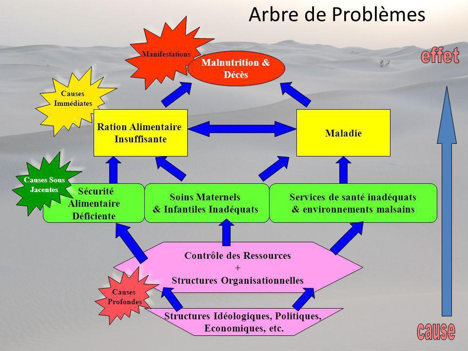 Arbre de Problèmes effet cause Malnutrition & Décès Ration Alimentaire