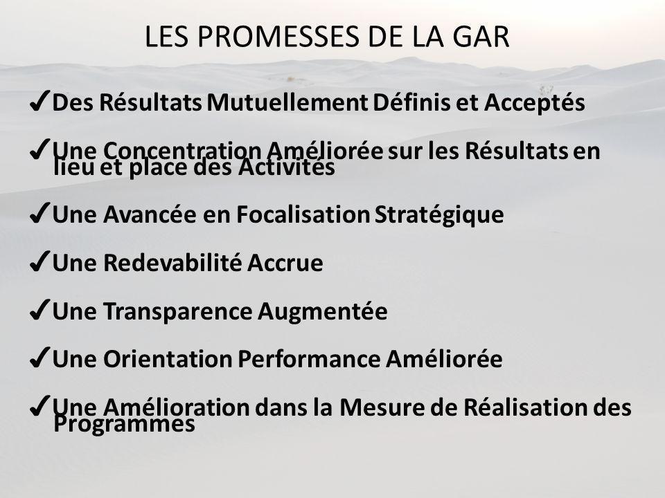 LES PROMESSES DE LA GAR ✔Des Résultats Mutuellement Définis et Acceptés. ✔Une Concentration Améliorée sur les Résultats en.