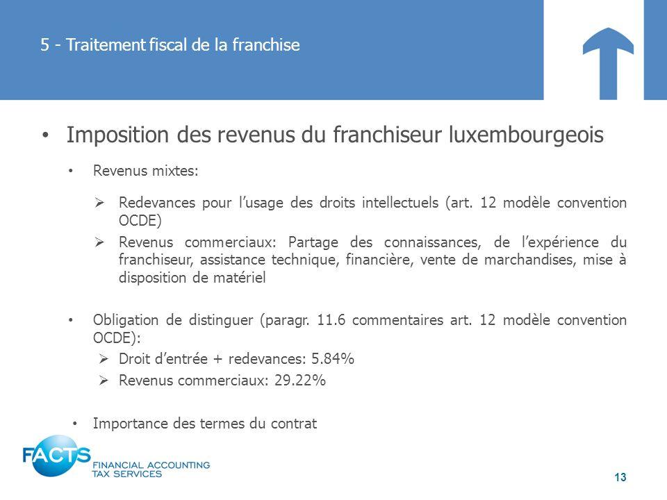 5 - Traitement fiscal de la franchise