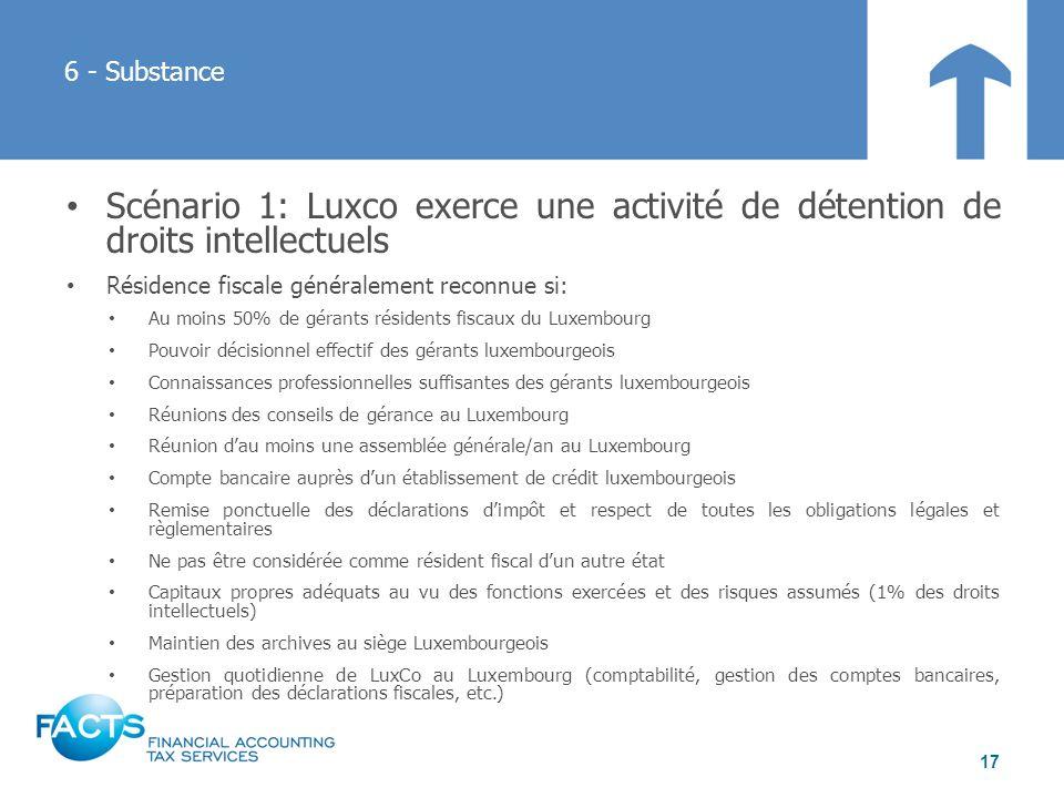 6 - Substance Scénario 1: Luxco exerce une activité de détention de droits intellectuels. Résidence fiscale généralement reconnue si: