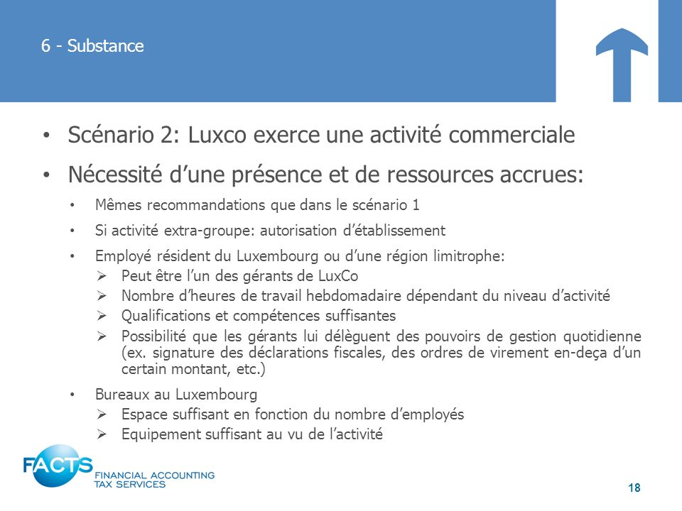 Scénario 2: Luxco exerce une activité commerciale