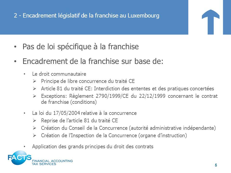 2 - Encadrement législatif de la franchise au Luxembourg