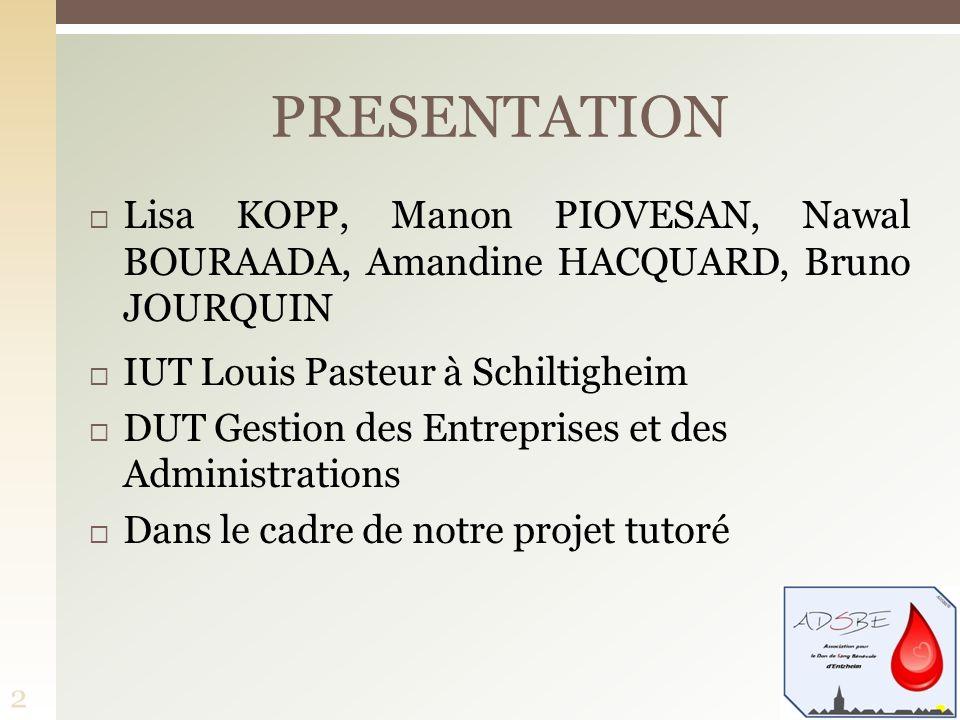 PRESENTATION Lisa KOPP, Manon PIOVESAN, Nawal BOURAADA, Amandine HACQUARD, Bruno JOURQUIN. IUT Louis Pasteur à Schiltigheim.