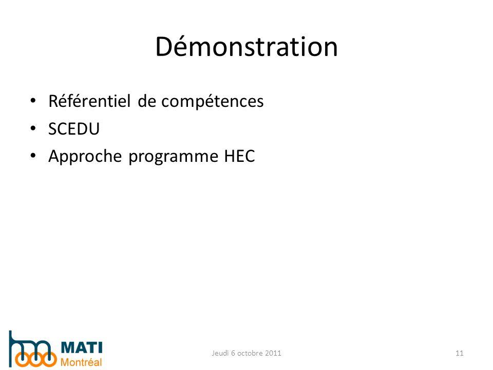 Démonstration Référentiel de compétences SCEDU Approche programme HEC