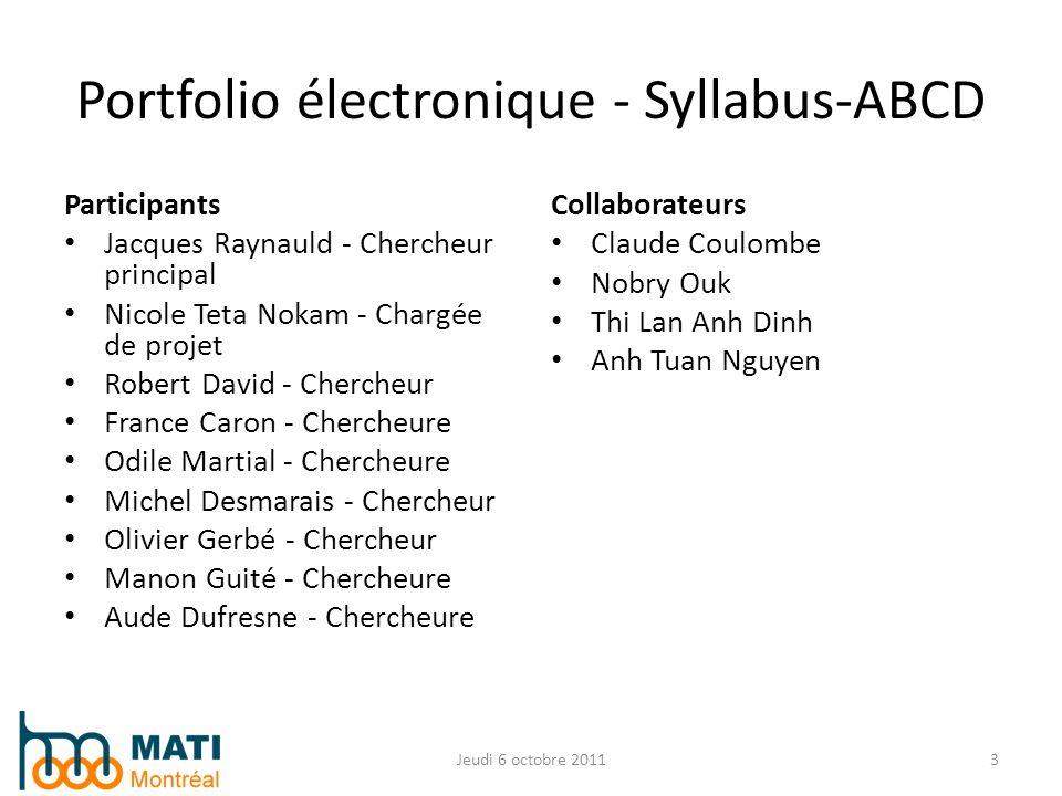 Portfolio électronique - Syllabus-ABCD