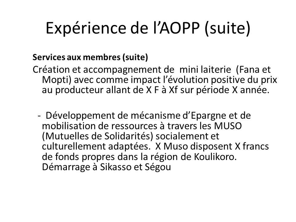 Expérience de l'AOPP (suite)