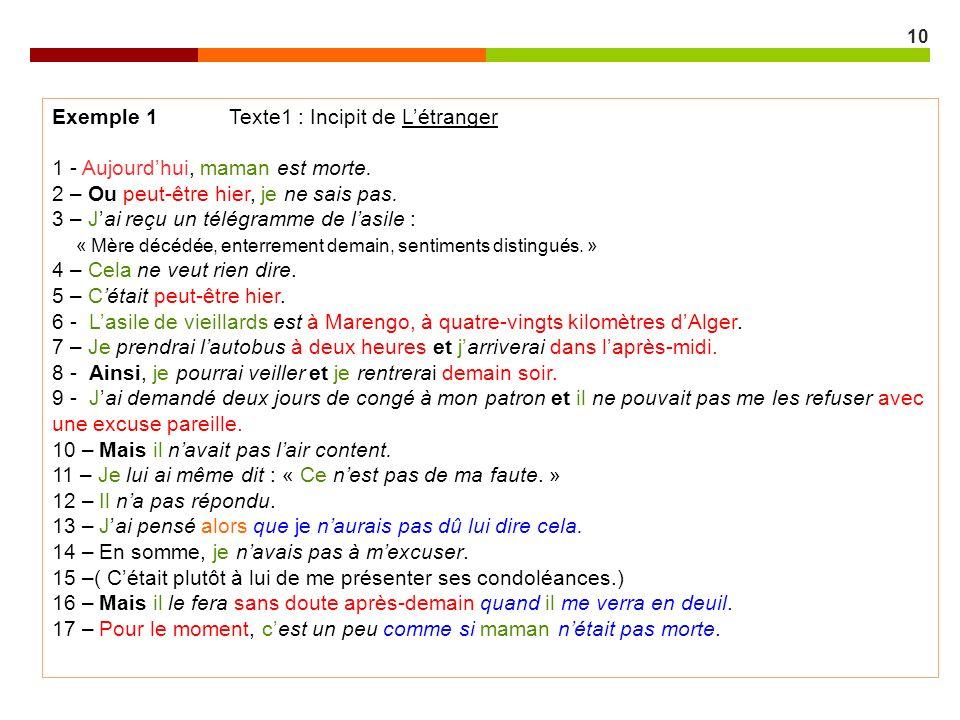 Exemple 1 Texte1 : Incipit de L'étranger