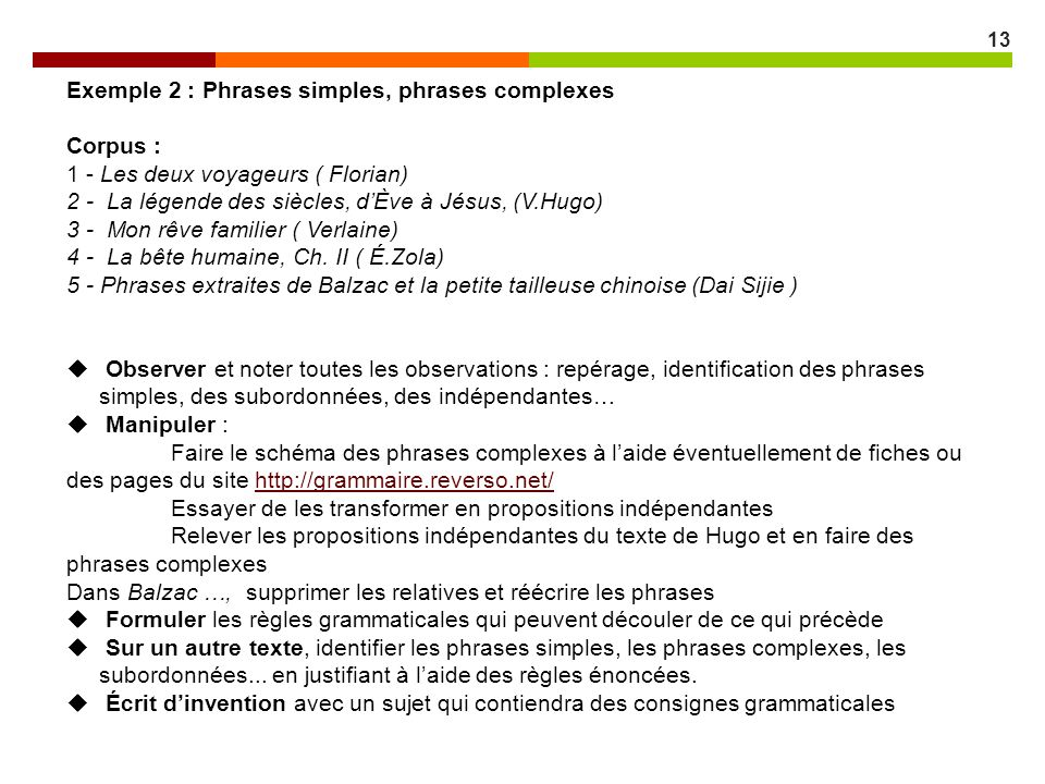 Exemple 2 : Phrases simples, phrases complexes