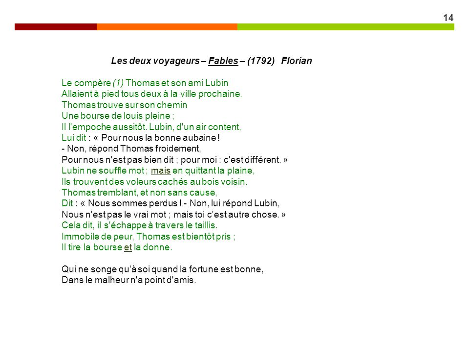 Les deux voyageurs – Fables – (1792) Florian