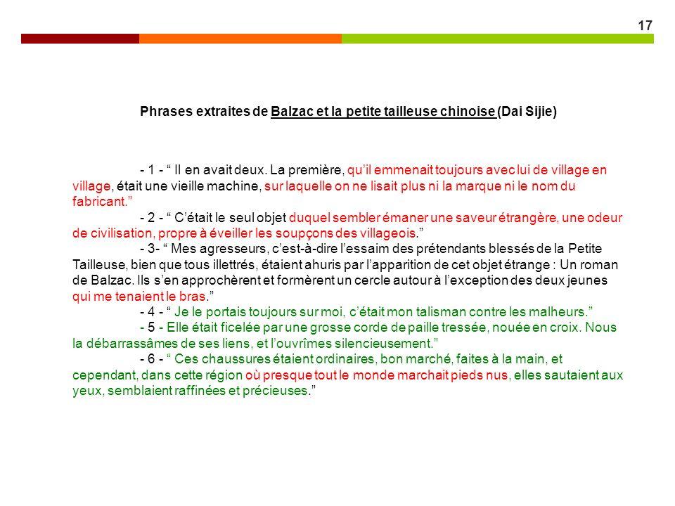 Phrases extraites de Balzac et la petite tailleuse chinoise (Dai Sijie)