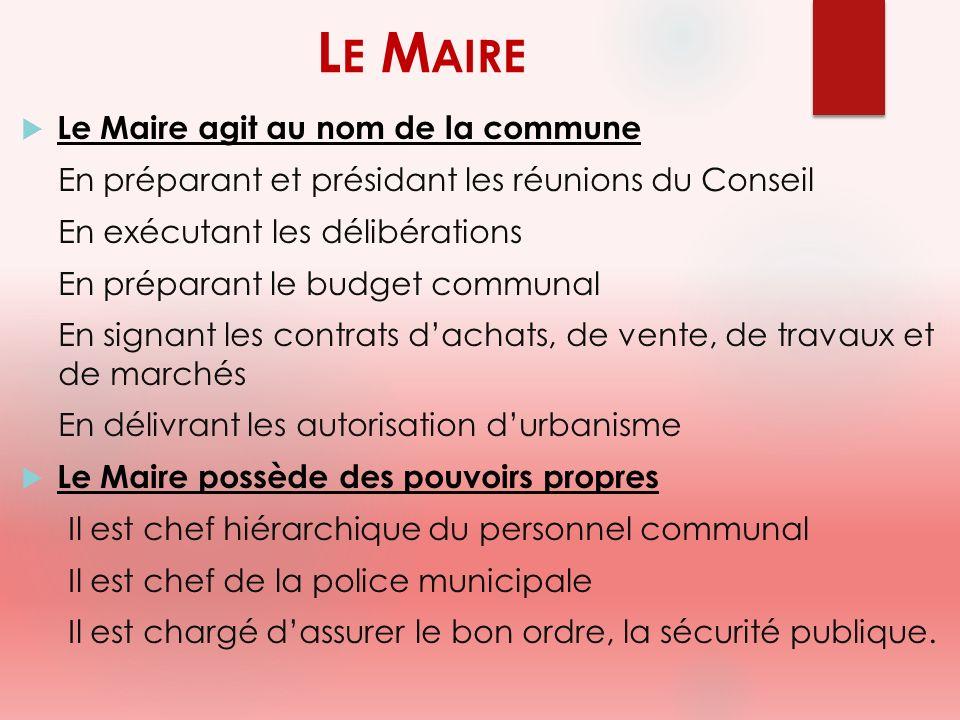 Le Maire Le Maire agit au nom de la commune